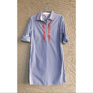 BROOKS BROTHERS Striped Embroidered Shirtdress